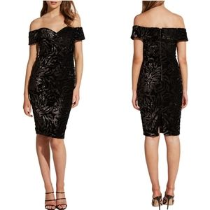 Bardot Sequin Velvet Off Shoulder Sheath Dress S
